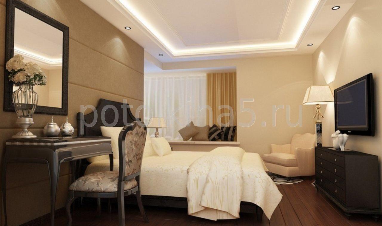 Дизайн спальни потолков